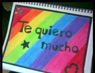 Te quiero mucho dibujado en un cuaderno